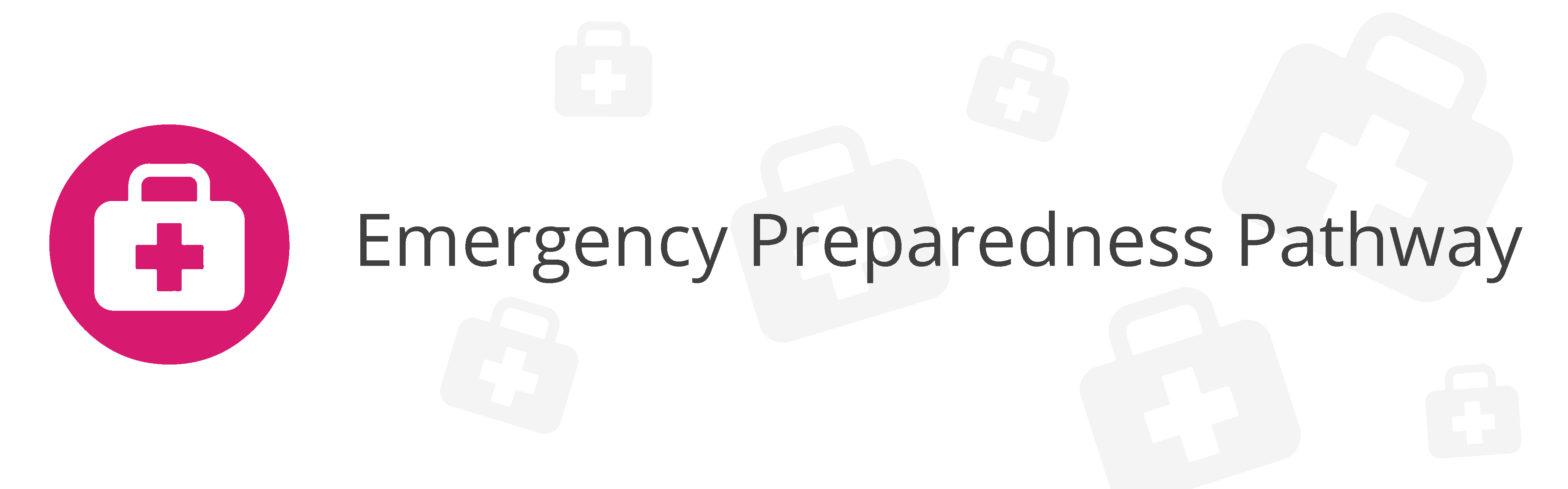 Pink circle with white doctor's bag icon inside & Emergency Preparedness Pathway text in black
