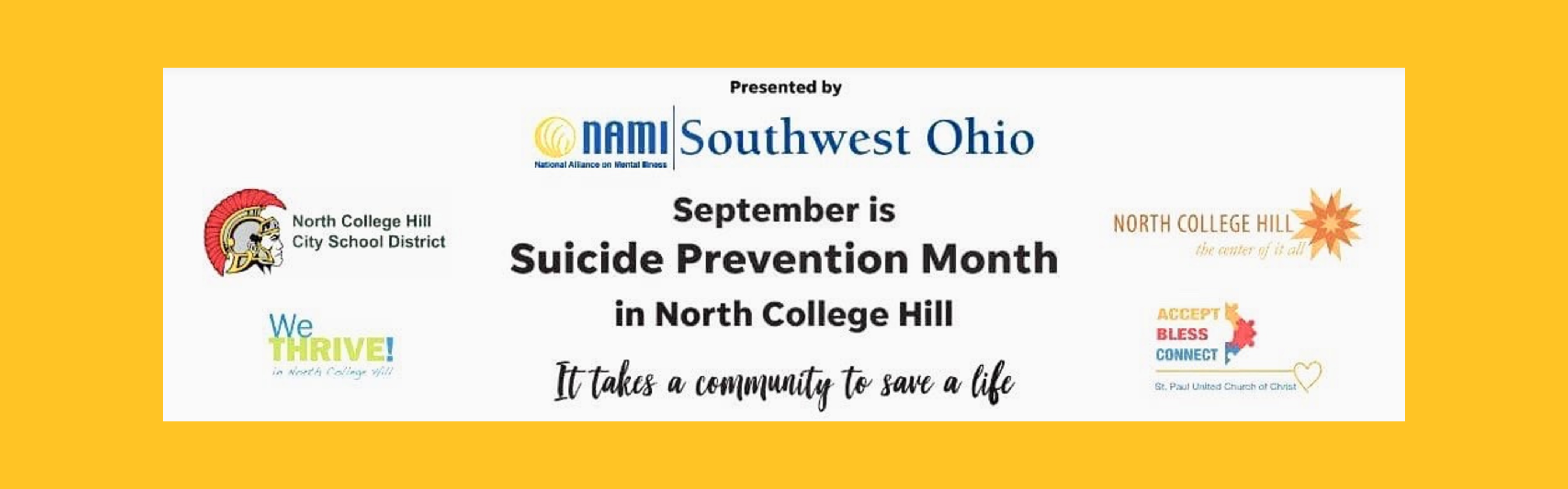 banner with logos of participating organizations proclaiming September is suicide prevention month in north college hill