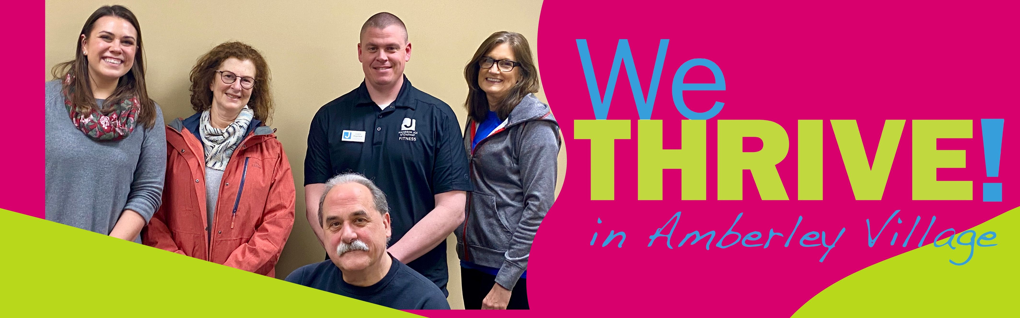 we thrive in Amberley logo with photo next to it of three women and two men