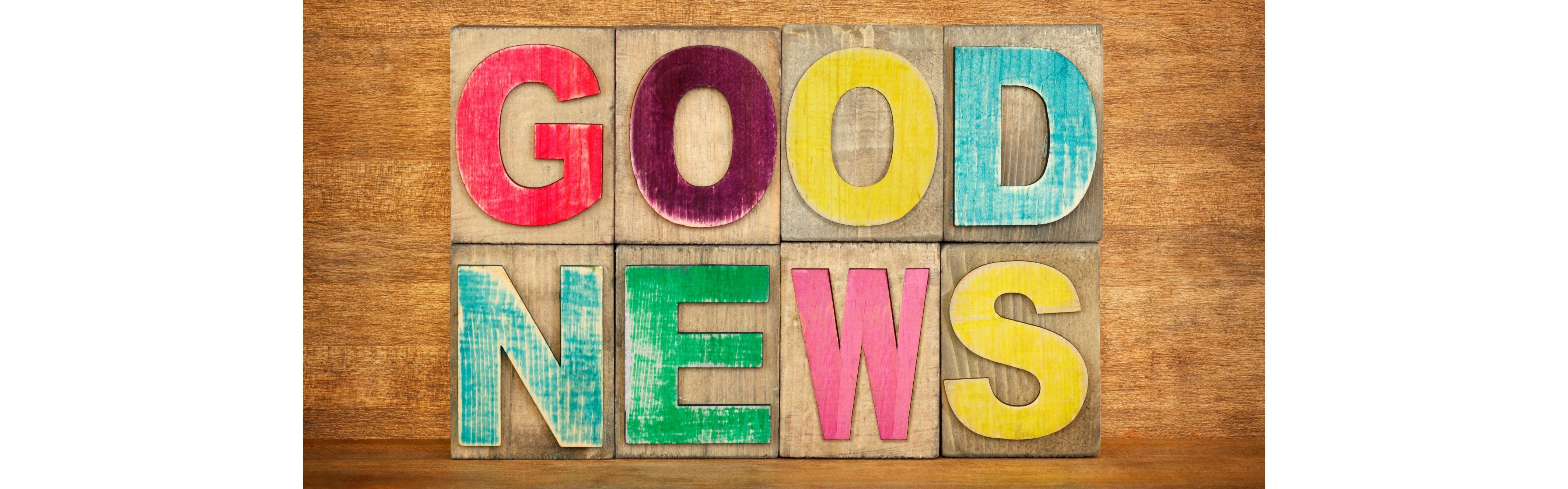 words in colors saying good news