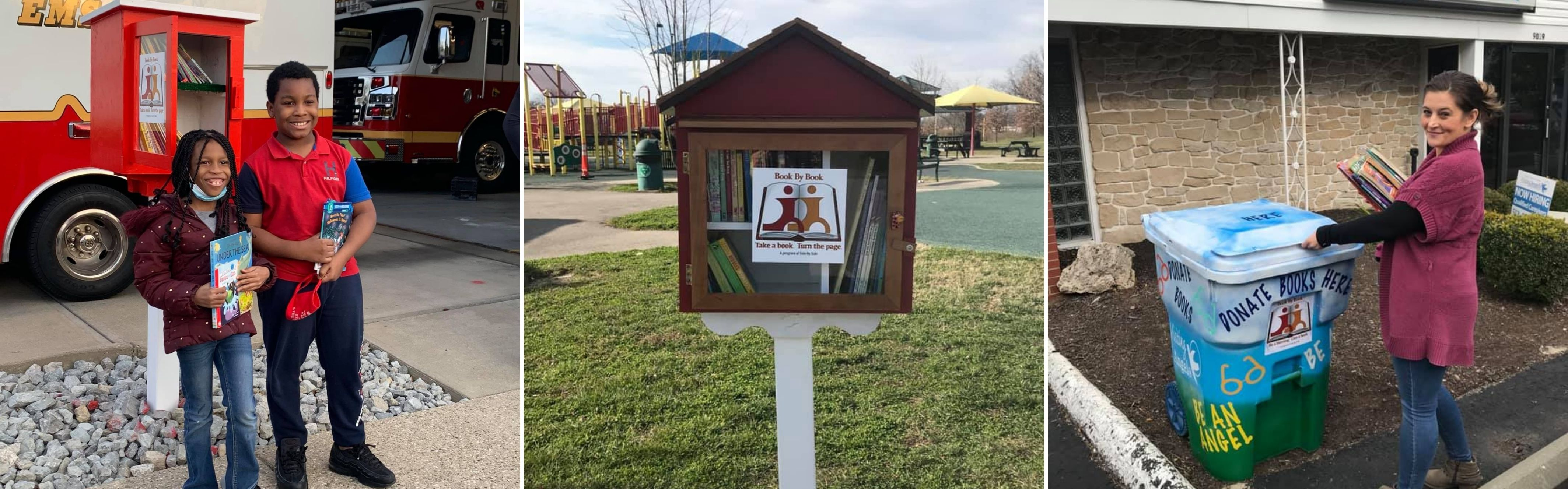 three photos: one of two children in front of little library, one of little library box in a park, one of woman putting books into donation bin